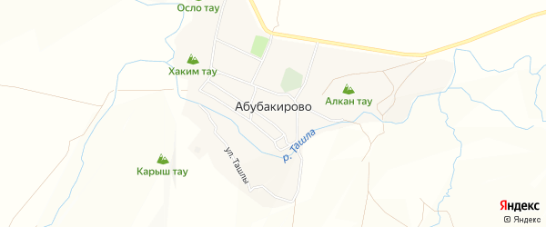 Карта села Абубакирово в Башкортостане с улицами и номерами домов