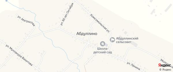 Переулок Мулланура Вахитова на карте деревни Абдуллино с номерами домов