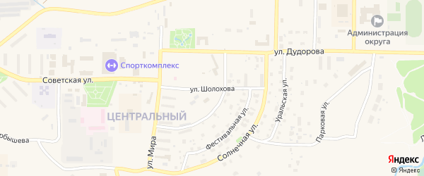 Улица Шолохова на карте Межгорья с номерами домов