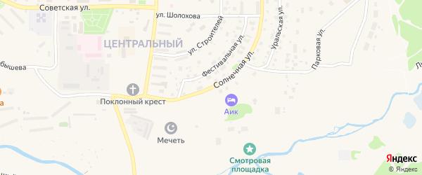 Солнечная улица на карте Межгорья с номерами домов