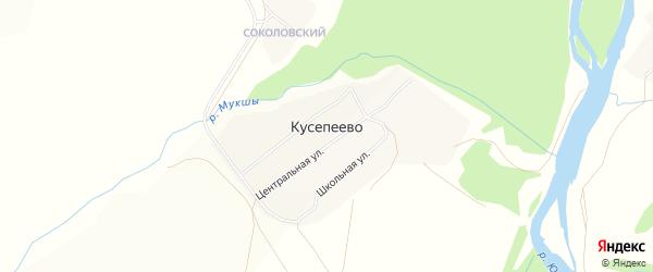 Карта деревни Кусепеево в Башкортостане с улицами и номерами домов
