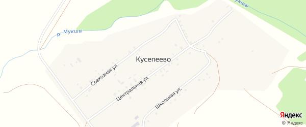 Центральная улица на карте деревни Кусепеево с номерами домов