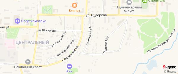 Уральская улица на карте Межгорья с номерами домов