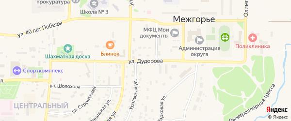 Улица Дудорова на карте Межгорья с номерами домов