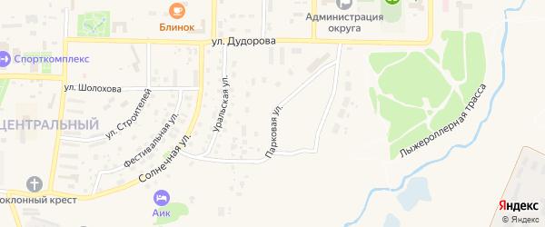Парковая улица на карте Межгорья с номерами домов