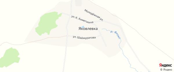 Карта села Яковлевки в Башкортостане с улицами и номерами домов