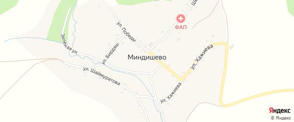 Зеленая улица на карте деревни Миндишево с номерами домов