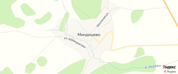 Карта деревни Миндишево в Башкортостане с улицами и номерами домов