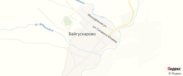 Карта села Байгускарово в Башкортостане с улицами и номерами домов