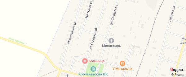 Улица Строителей на карте поселка Кропачево с номерами домов