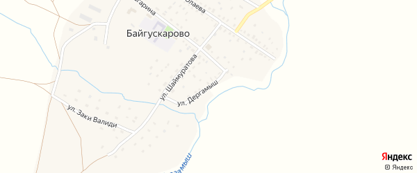 Улица Дергамыш на карте села Байгускарово с номерами домов