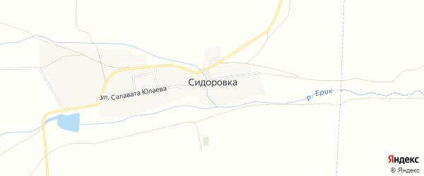 Карта деревни Сидоровки в Башкортостане с улицами и номерами домов