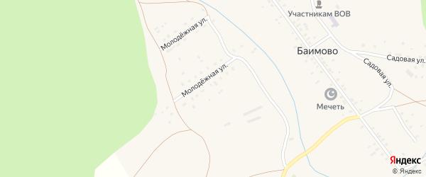 Молодежная улица на карте деревни Баимово с номерами домов
