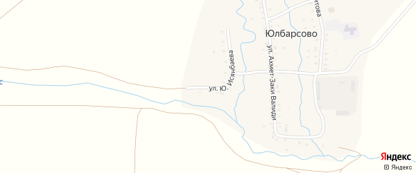 Улица Ю.Исянбаева на карте деревни Юлбарсово с номерами домов