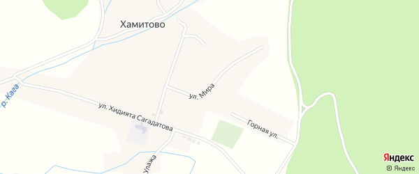 Улица Мира на карте села Хамитово с номерами домов