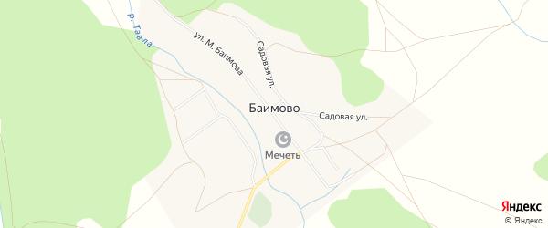 Карта деревни Баимово в Башкортостане с улицами и номерами домов