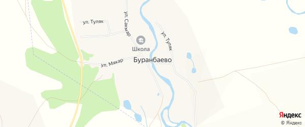 Карта деревни Буранбаево в Башкортостане с улицами и номерами домов