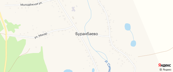Улица Тиряк на карте деревни Буранбаево с номерами домов
