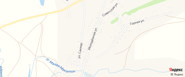 Молодежная улица на карте деревни Сайгафара с номерами домов