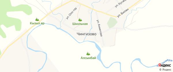 Карта деревни Чингизово в Башкортостане с улицами и номерами домов