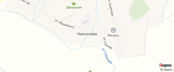 Горная улица на карте деревни Чингизово с номерами домов