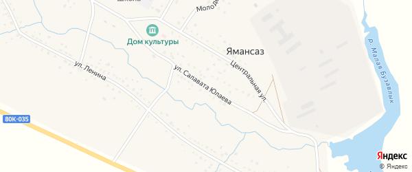Улица С.Юлаева на карте села Ямансаза с номерами домов