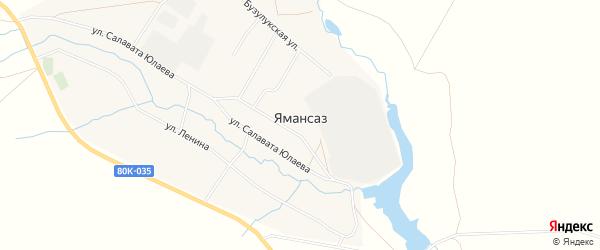 Карта села Ямансаза в Башкортостане с улицами и номерами домов