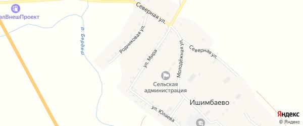 Улица Юлаева на карте села Ишимбаево с номерами домов