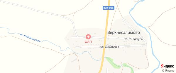 Улица М.Гафури на карте деревни Верхнесалимово с номерами домов