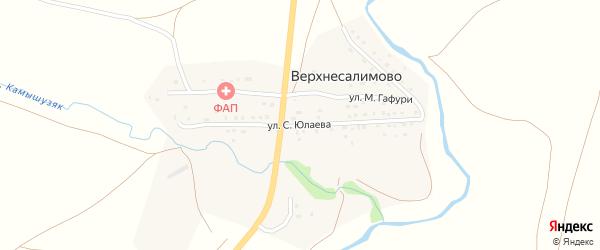 Улица С.Юлаева на карте деревни Верхнесалимово с номерами домов