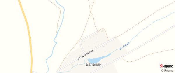 Улица Худайбердина на карте деревни Балапана с номерами домов
