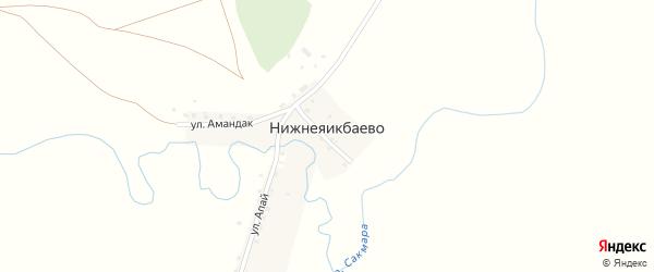 Улица Амандак на карте деревни Нижнеяикбаево с номерами домов