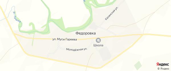 Карта села Федоровки в Башкортостане с улицами и номерами домов