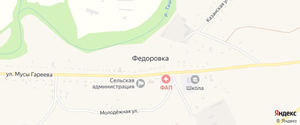 Улица С.Юлаева на карте села Федоровки с номерами домов