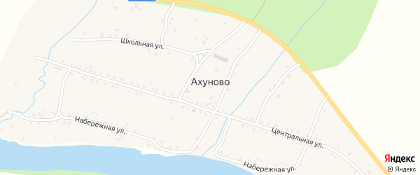 Набережная улица на карте деревни Ахуново с номерами домов