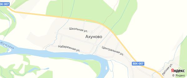 Карта деревни Ахуново в Башкортостане с улицами и номерами домов