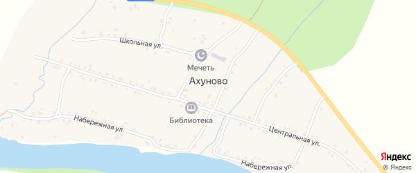 Центральная улица на карте деревни Ахуново с номерами домов