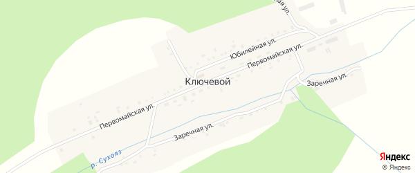 Первомайская улица на карте деревни Ключевого с номерами домов