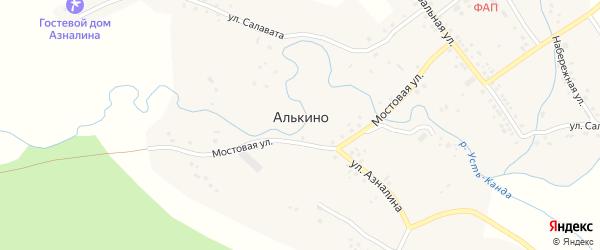 Кольцевая улица на карте села Алькино с номерами домов
