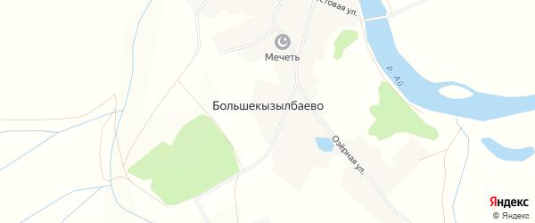 Карта деревни Большекызылбаево в Башкортостане с улицами и номерами домов