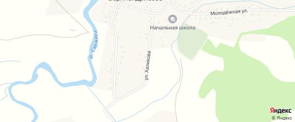 Улица Халикова на карте деревни Верхнеидрисово с номерами домов