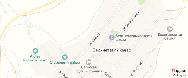 Улица Сакмар на карте села Верхнетавлыкаево с номерами домов
