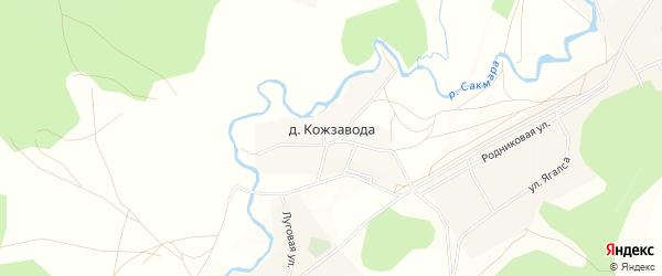 Карта деревни Кожзавода в Башкортостане с улицами и номерами домов