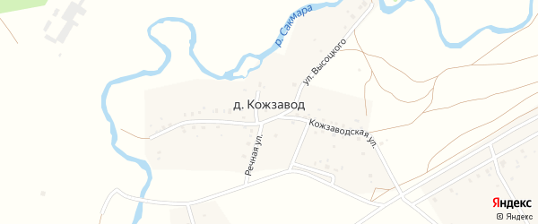 Речная улица на карте деревни Кожзавода с номерами домов