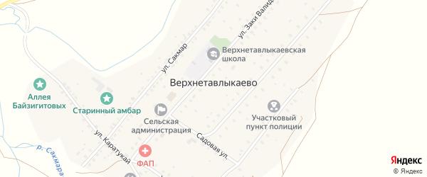 Улица З.Валиди на карте села Верхнетавлыкаево с номерами домов