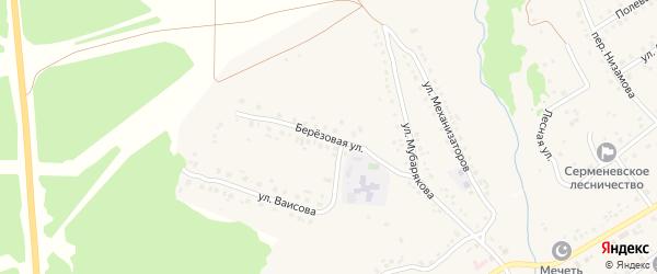 Березовая улица на карте села Серменево с номерами домов