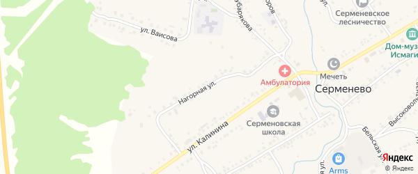 Нагорная улица на карте села Серменево с номерами домов