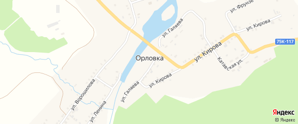 Улица Кирова на карте села Орловки с номерами домов