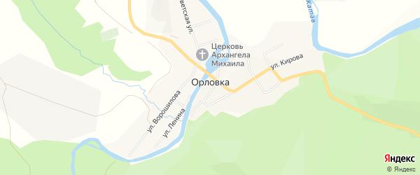 Карта села Орловки в Челябинской области с улицами и номерами домов