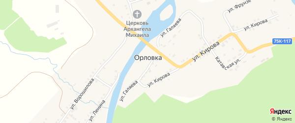 Улица Галяева на карте села Орловки с номерами домов